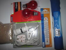 Set. Brooder Kit Heat Lamp Chick Food Anti-Slip Mat and Thermometer .