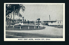 Mason City Iowa IA c1950 Very Small Maple Crest Motel, ANTIQUE RV & Autos in Lot