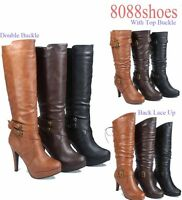 Women's  Zipper High Heel Platform Mid-Calf Knee High Boots Shoes Size 5 -10 NEW