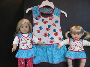 """Two Vintage """"1950's"""" Handmade Aprons for Dolly & Me ; Size 7/8"""