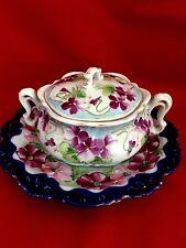 Antique Nippon Bowl Lidded with under plate cobalt edged floral violets design