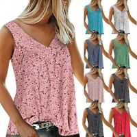 Womens Holiday Summer Vest Tank Tops Loose Baggy Sleeveless Tunic T Shirt Blouse
