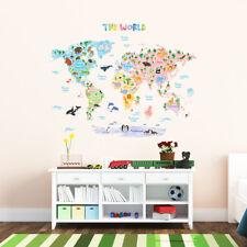 DECOWALL Animale Mappa del mondo Bambini Vivaio Rimovibile Muro Adesivi Decal DMT-1615S