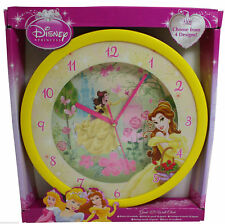 Disney Princess Wanduhr XXL 36 cm Uhr Fanuhr Kinderuhr Prinzessin Belle Gelb