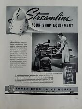1940 motor-driven South Bend Lathe streamline your shop equipment ad