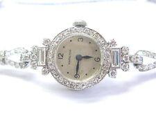 Platinum Vintage Hamilton Round & Baguette Diamond Watch 4.00Ct
