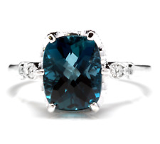 4.08 Carats Natural LONDON BLUE TOPAZ and Diamond 14K White Gold Ring