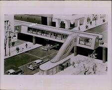 LG868 '55 Original Photo AERIAL TRANSIT STATION Artist Concept Escalator Traffic