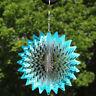 Sunnydaze Whirling Blue Star Whirligig Outdoor Wind Spinner with Hookk - 6-Inch