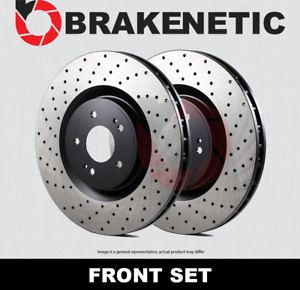 FRONT SET BRAKENETIC PREMIUM Cross DRILLED Brake Disc Rotors BNP33158.CD