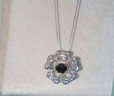 Ross Simons 18k Yellow gold & Sterling silver Black Onyx Flower pendant necklace