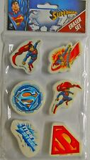SUPERMAN ERASER SET MARVEL SUPERHERO STATIONERY SCHOOL DC COMICS TOYS