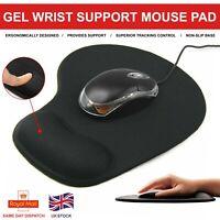 Black Mouse Mat Anti Slip Gaming Desk Pad Gel Wrist Support PC Laptop UK Seller