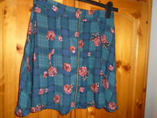 Cute bottle green and blue check skirt, pink flowers, URBAN OUTFITTERS, size 8