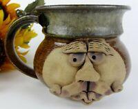 Handmade Signed Art 3D Face Ceramic Stoneware 16oz Coffee Mug Cup ~ Funny Goofy