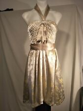 Emanuella Y Ladies Dress in Light Gold with an Abstract Print Size XS - NWOT