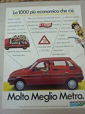 ADVERTISING PUBBLICITA' molto meglio METRO AUSTIN ROVER la più economica -- 1986