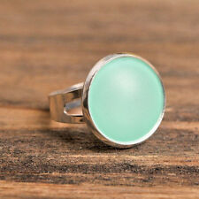 Mint green handmade mood ring, adjustable ring, statement ring, silver plated