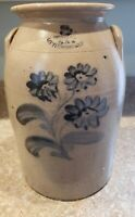 Antique Stoneware decorated Crock/ LITTLE W ST 12TH ST NY/EXTREMELY RARE TO FIND