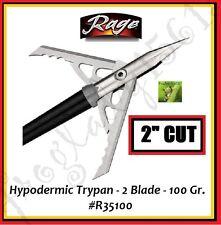 "RAGE HYPODERMIC TRYPAN - 2 BLADE - 100 GR - 2"" CUT - 3PK  #R35100 - AUTH DEALER!"