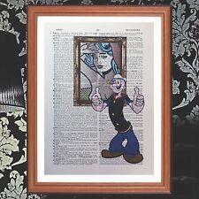 Popeye Vs Lichtenstein dictionary page quote art print - present gift  print