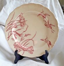 WILLIAM BROWNFIELD & SONS GRANDE ASSIETTE IVOIRE/ROSE DECOR LOTUS OISEAUX 19ème