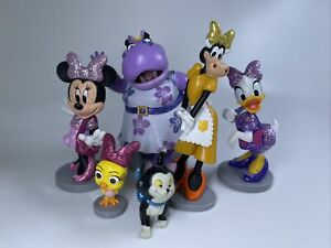 Lot 6 PVC Glitter Figure Disney Store Minnie Mouse Clarabelle Hilda Figaro Bird