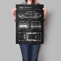 Audi 80 LS Car Poster Retro Patent Blueprint Art Print