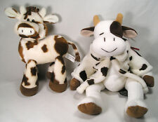 2 Cow Stuffed Plush, Brown White Cow Print Jacket by Russ, Cow by Carlton Cards