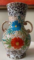 Vintage Floral Design Ceramic Pottery Vase w/ Handles Mid Century Modern Italy