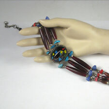 Necklace Choker Women 15 In Adjustable Faux Stones Blue Brown Bohemian Ethnic