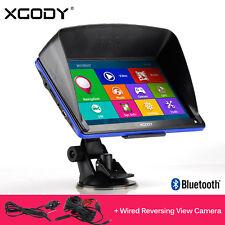 XGODY 7'' GPS Navigation SAT NAV Bluetooth AV-IN+Reverse Rear View Backup Camera