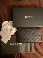 Chanel Black Quilted Caviar leather Large Zip Around Wallet Clutch Organizer
