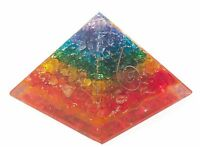 Extra Large 70-75MM Seven Chakra Multi Orgorne Natural Gemstone Pyramid Organit