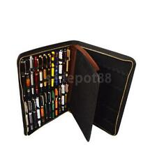 Fountain/Roller Pen 48 Pens Brown Leather Case Storage Holder Organizer Bag
