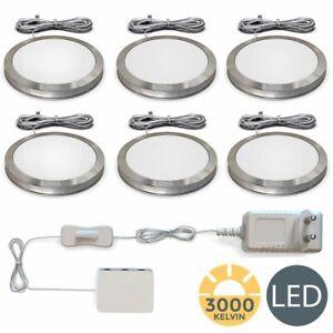 6 LED Schrank-Licht Unterbau-Leuchten Küchen-Lampe flach Aufputz-Strahler Spots