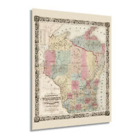 1851 Wisconsin Map Poster - Vintage State of Wisconsin USA Wall Art Decor Print