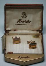 Antique NOS KREISLER 12k Yellow Gold GF Rectangle Cufflinks Original Box  #EST74