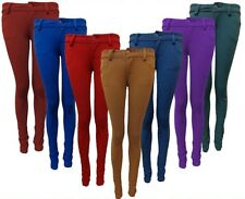 NEW WOMENS COLOURED BUTTON SKINNY JEANS STRETCH WOMENS JEGGINGS TROUSERS 6-14
