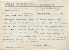 SEEBAD HERINGSDORF, Brief 1956, Fleischermeister Willy Fröhling