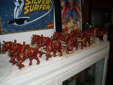Vintage Cast Iron Horse-Drawn Wagon Display - 8 horses 2 riders barrels