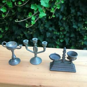 "2"" Miniature Set of 3 Lead Treasures Candelabra / Jeweler Scale / Oil Lamp"