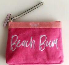 Victoria's Secret Beach Bum Bikini Bag Makeup Case Terry Cloth Hot Pink & Orange