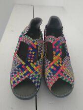 BERNIE MEV Multi Color Elastic Fabric Weave Peep Toe Wedge Size 40