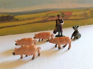 54mm mid 20;C retired soldier pig farmer with hound and pigs