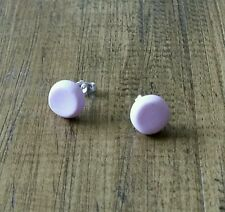 Pretty Pink polymer clay round studs sterling silver earrings 10mm unique gift