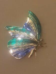 32 - Schmetterlingsbrosche mit Emailleeinlage, siehe Fotos