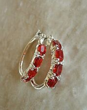 "Red Rhinestone Earrings Silvertone Hoops July Birthstone Christmas Avon 1 1/8"" L"