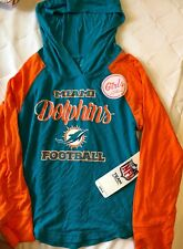 Nwt Miami Dolphins Football Girls Hooded Lonf Sleeve Nfl Team Apparel Sz Xs 4/5