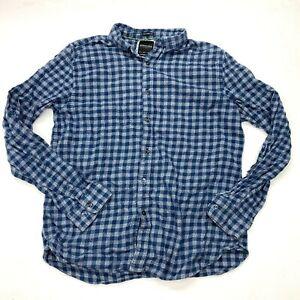 Denim & Flower Gingham Plaid Flannel Shirt Sz L Mens Blue Button Up Slim Fit
